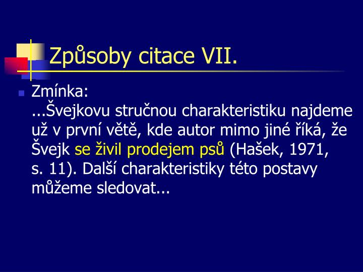 Způsoby citace VII.