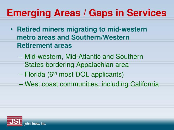 Emerging Areas / Gaps in Services
