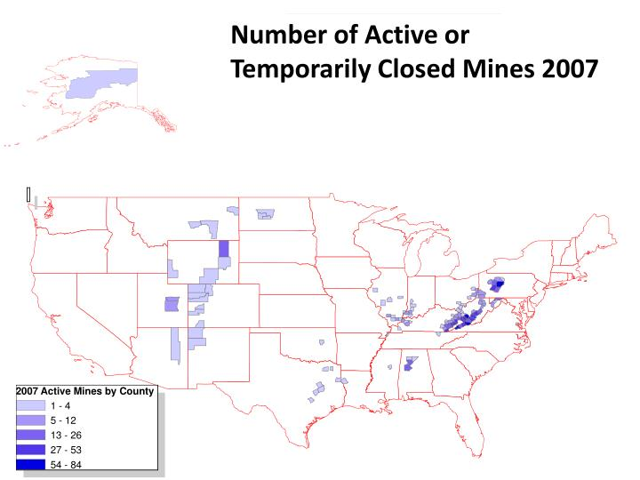 Number of Active or Temporarily Closed Mines 2007