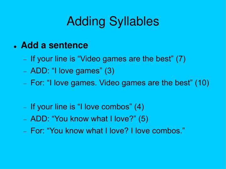 Adding Syllables