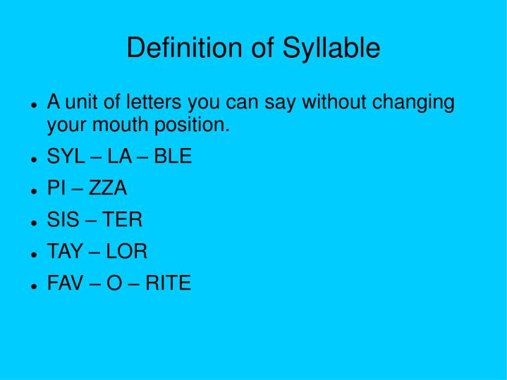Definition of Syllable