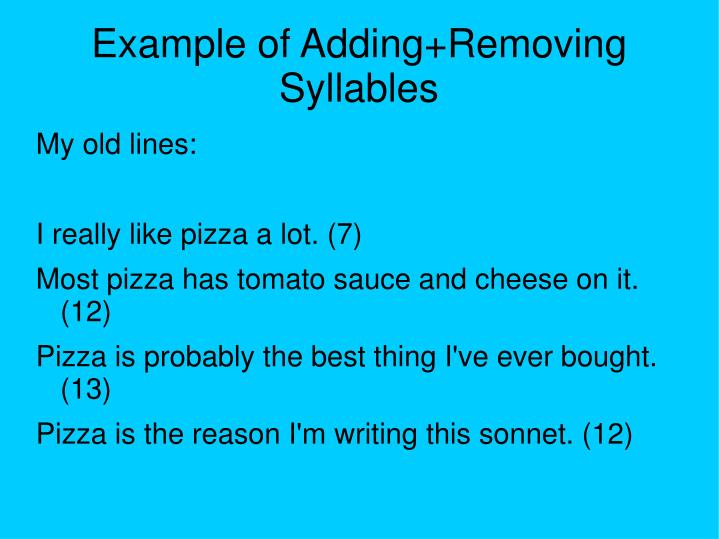 Example of Adding+Removing Syllables