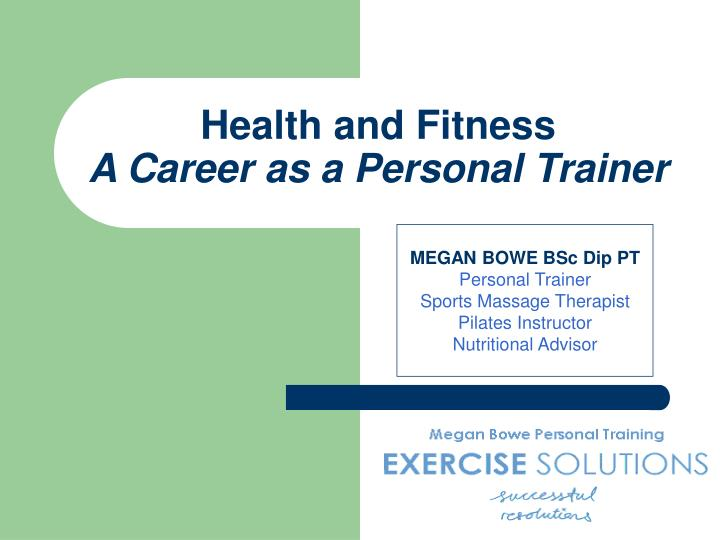 health and fitness a career as a personal trainer n.