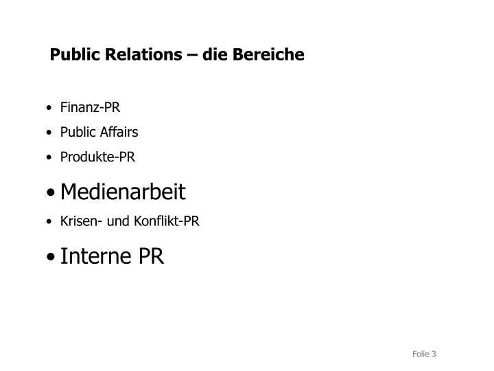 Public Relations – die Bereiche