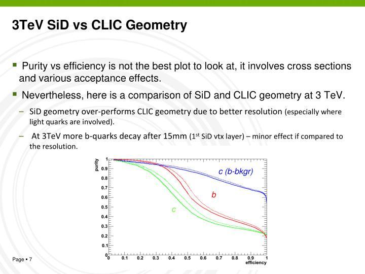 3TeV SiD vs CLIC Geometry
