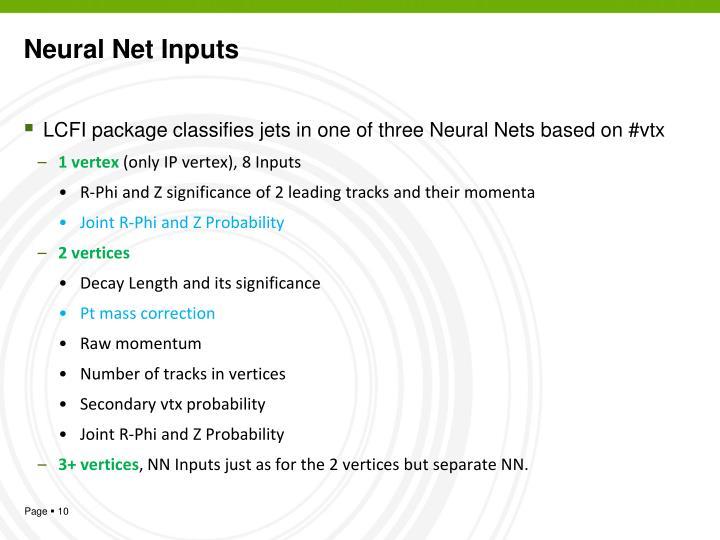 Neural Net Inputs