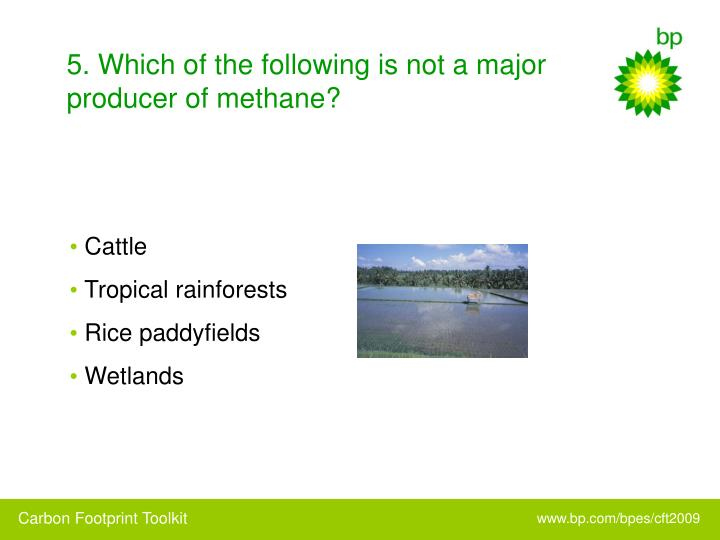 5. Which of the following is not a major producer of methane?
