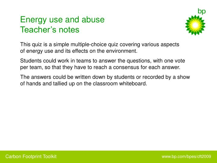 Energy use and abuse teacher s notes