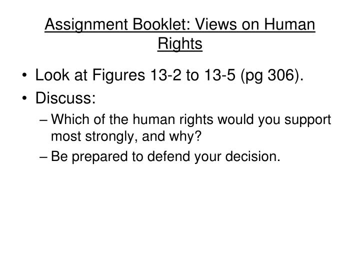 Assignment Booklet: Views on Human Rights