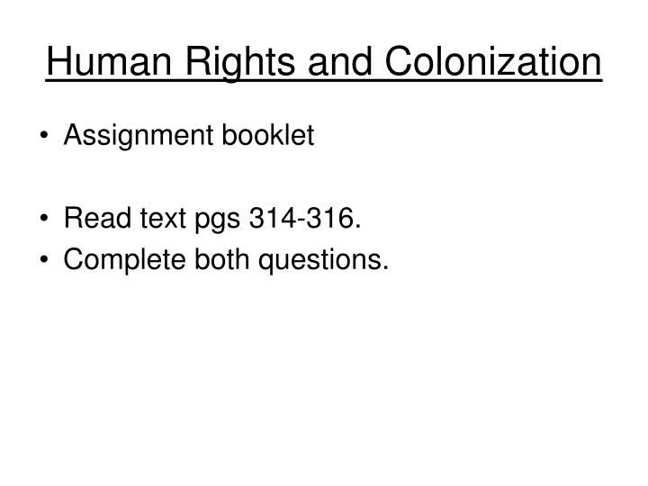 Human Rights and Colonization