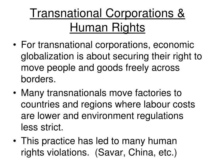 Transnational Corporations & Human Rights