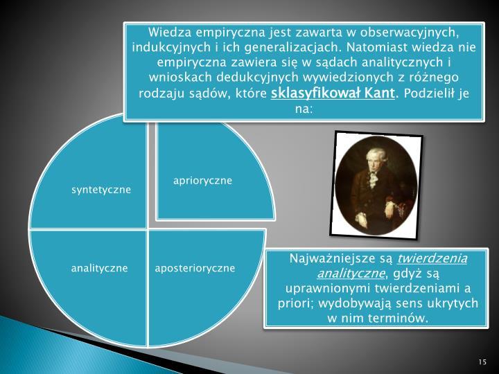 Wiedza empiryczna jest zawarta w obserwacyjnych, indukcyjnych i ich generalizacjach. Natomiast wiedza nie empiryczna zawiera się w sądach analitycznych i wnioskach dedukcyjnych wywiedzionych z różnego rodzaju sądów, które