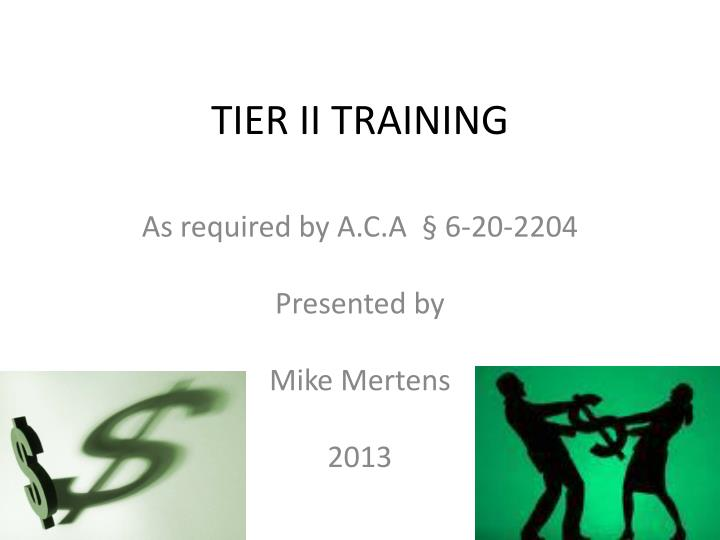 tier ii training n.