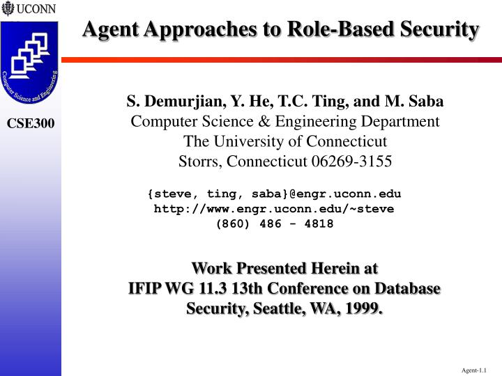 Agent approaches to role based security
