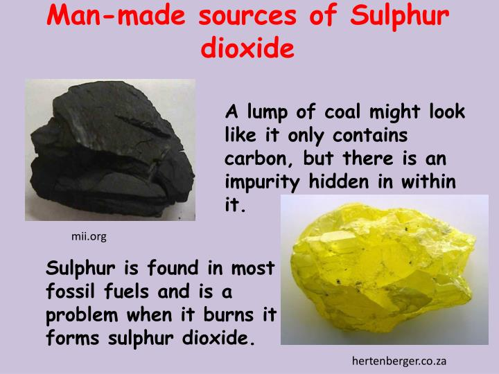 Man-made sources of Sulphur