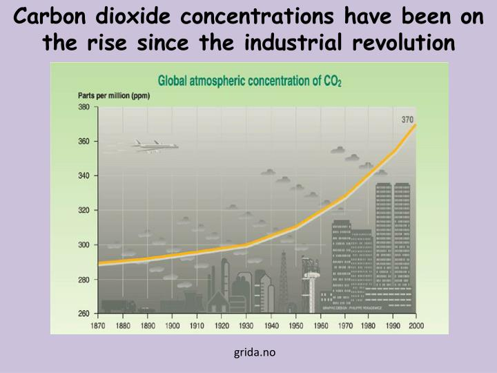 Carbon dioxide concentrations have been on the rise since the industrial revolution