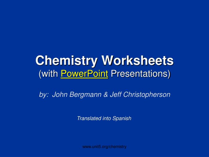 chemistry worksheets with powerpoint presentations n.
