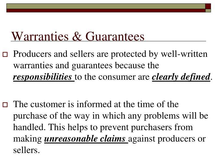Warranties & Guarantees
