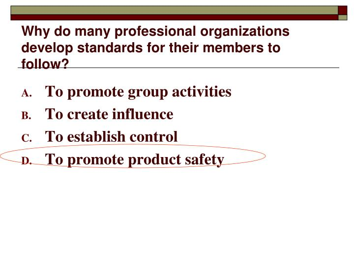 Why do many professional organizations develop standards for their members to follow?