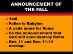 announcement of the fall1