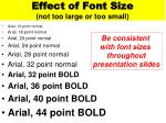 effect of font size not too large or too small