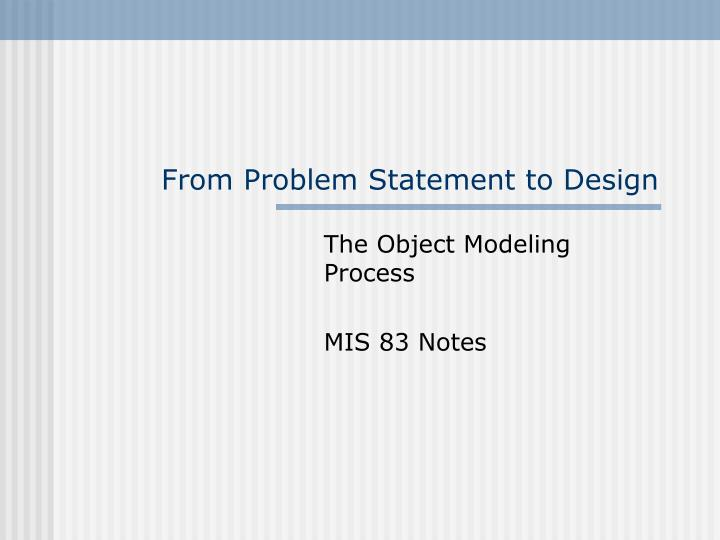 from problem statement to design n.