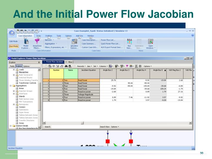 And the Initial Power Flow Jacobian