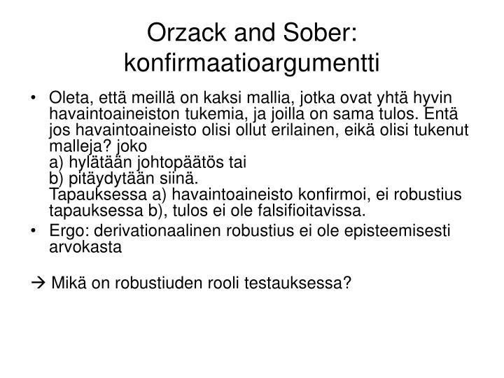 Orzack and Sober: konfirmaatioargumentti