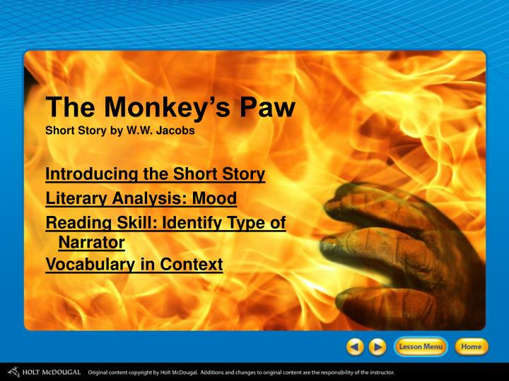 analyzing suspense and tension in the monkey s paw english literature essay C a monkey's paw that grants three wishes to three different people d a magical but evil monkey's paw that ruins the quiet life of a family 2.