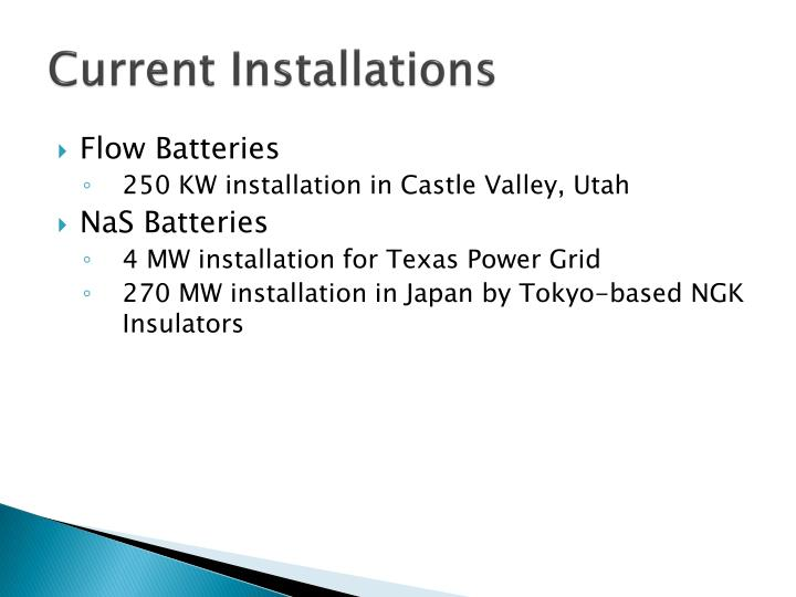 Current Installations