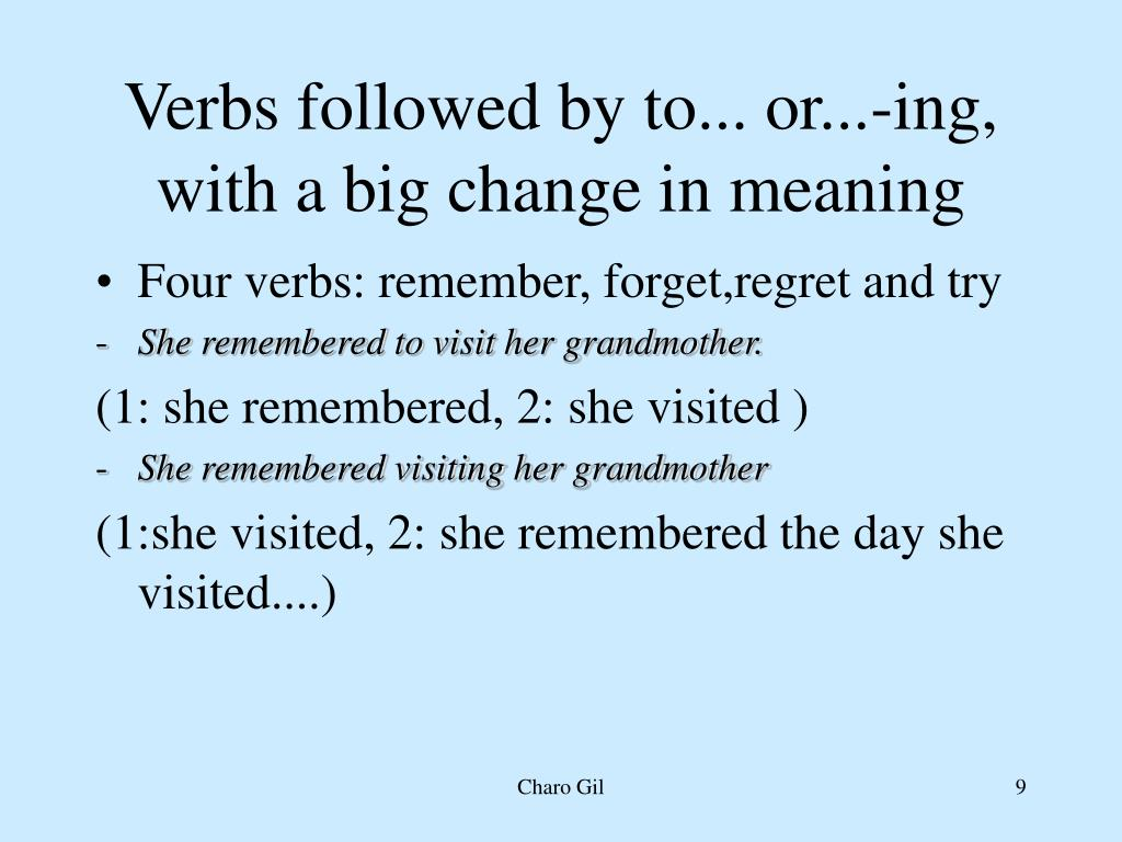 PPT - Verbs followed by to    or    -ing PowerPoint