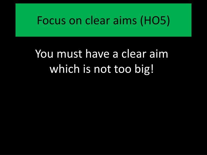 Focus on clear aims (HO5)