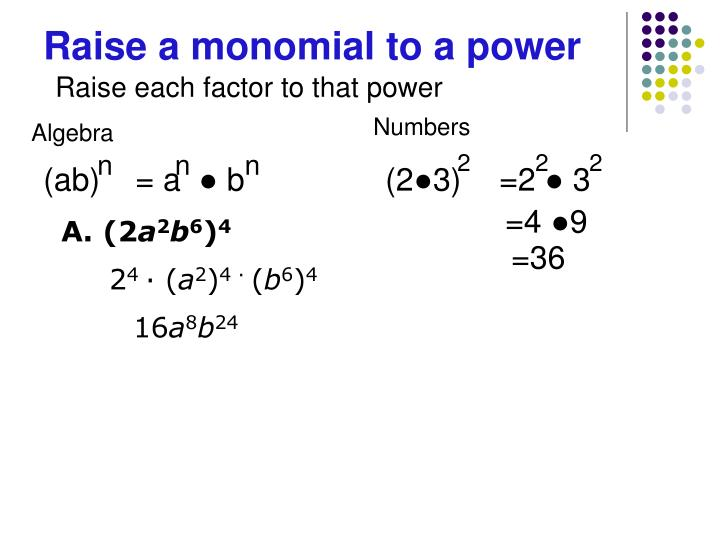 Raise a monomial to a power