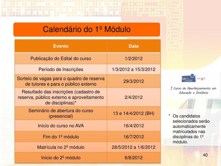 Os candidatos selecionados serão automaticamente matriculados nas disciplinas do 1º módulo.