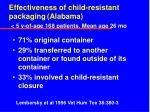 effectiveness of child resistant packaging alabama 5 y of age 168 patients mean age 26 mo