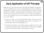 early application of vat principle
