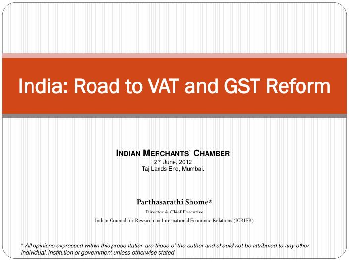 india road to vat and gst reform n.