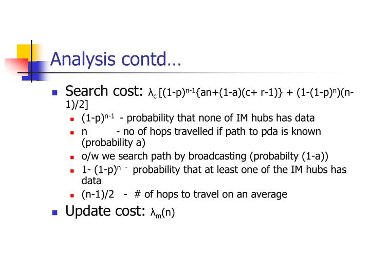 Analysis contd…