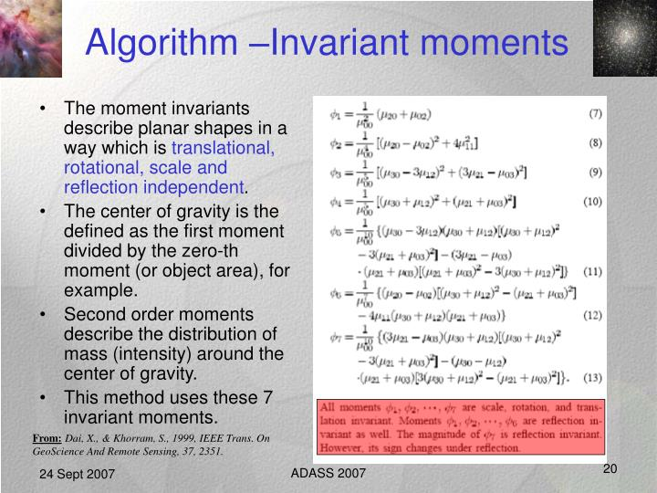 Algorithm –Invariant moments