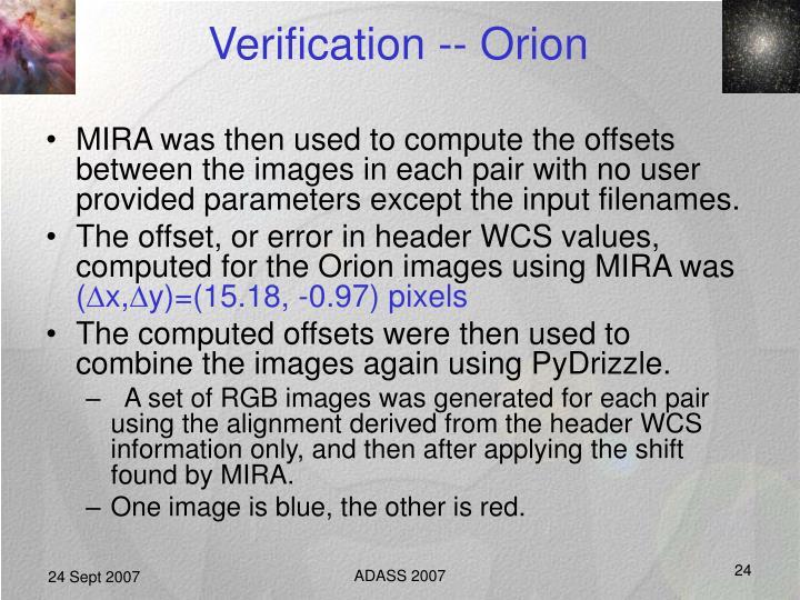 Verification -- Orion