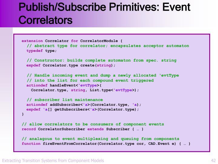 Publish/Subscribe Primitives: Event Correlators