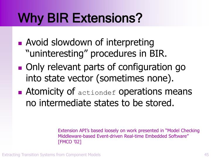 Why BIR Extensions?