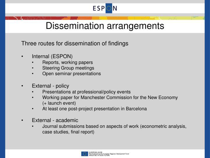 Dissemination arrangements