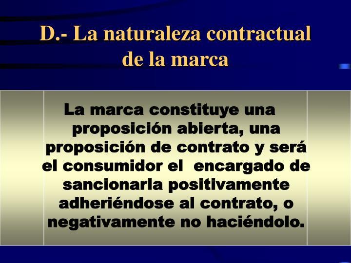 D.- La naturaleza contractual de la marca