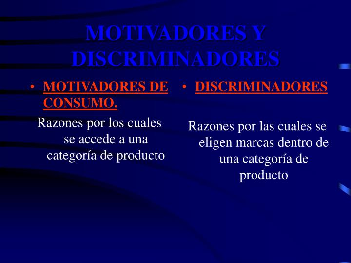 MOTIVADORES DE CONSUMO.