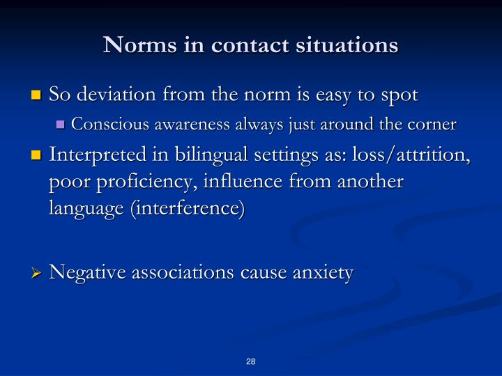 Norms in contact situations