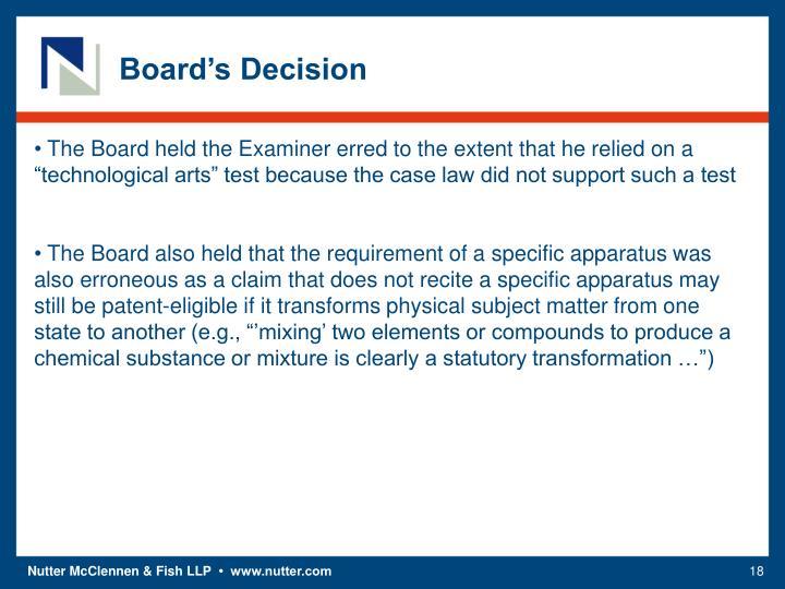 Board's Decision