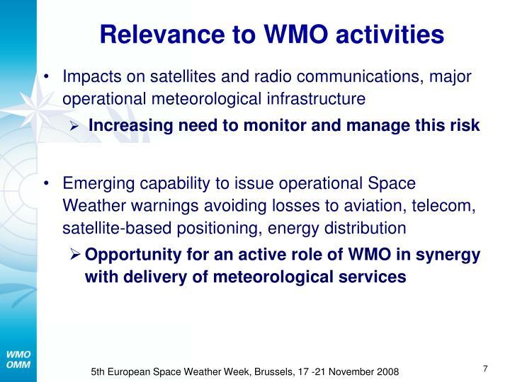 Relevance to WMO activities