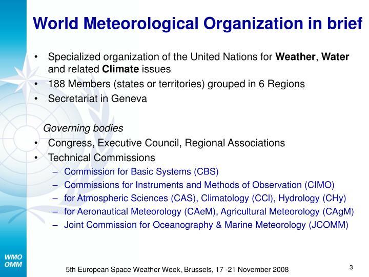 World meteorological organization in brief