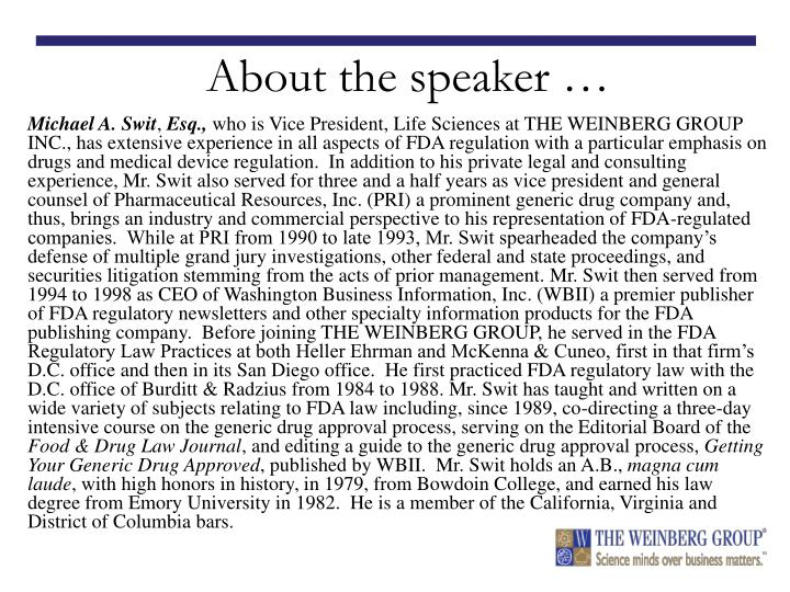 About the speaker …